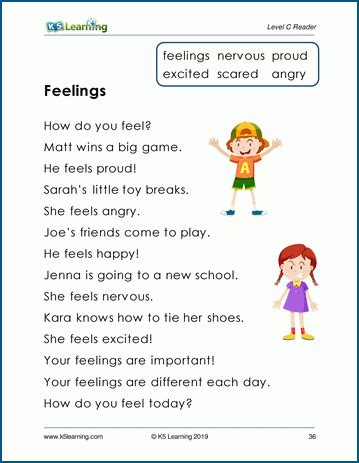 feelings leveled story  reading comprehension