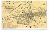 the Town of Boston in New England Map Classic Vintage ...