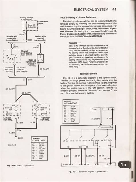e30 ignition switch circuit car maintenance