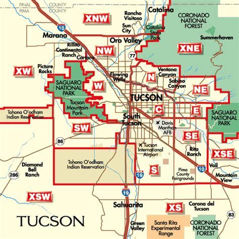 Tucson Arizona City Map Tucson Arizona Mappery
