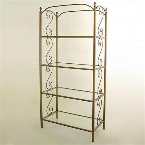 wrought iron etagere traditional wrought iron etagere 4 glass shelves