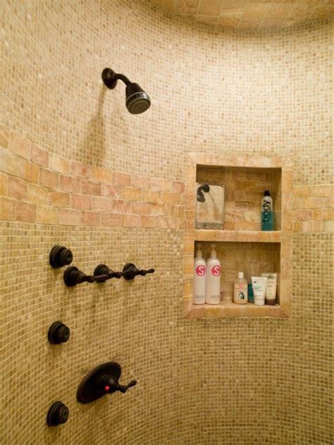 tile shower recessed shelves bathrooms