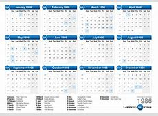 Calendar 1986