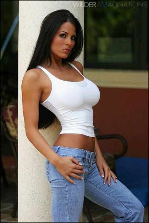 Pin By Robert Knowles On Sexy In Jeans Pinterest Brunettes Hot Brunette And White Tank Tops