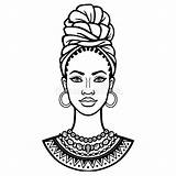African Turban Beauty Animation Portrait Illustration Drawing Ethnic Vector Coloring sketch template