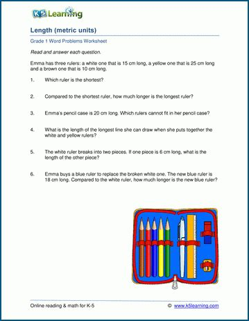 length word problems metric worksheets for grade 1 k5 learning