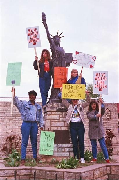 1990 Teacher Teachers Walkout Tulsa Elementary Oklahoma