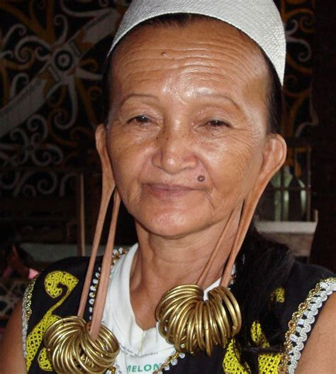 long ear lobes  dayak tribe kalimantan top indonesia