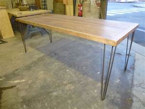 Pied De Table En Bois : table de cuisine pieds pingle bois exotique robin sicle ~ Dailycaller-alerts.com Idées de Décoration