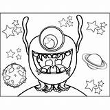 Monster Drooling Coloring Space sketch template