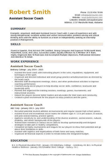 Soccer Resume Template by Soccer Coach Resume Exle Vvengelbert Nl