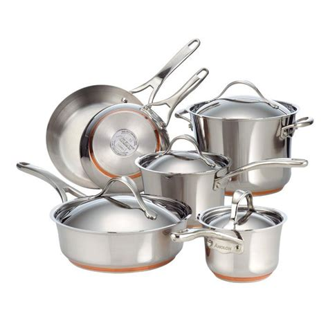 anolon nouvelle copper stainless steel  piece cookware set   induction cookware