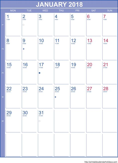january calendar template portrait printable calendar template