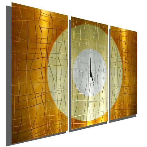 large copper  panel wall clock modern contemporary
