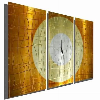 Wall Contemporary Metal Clock Sculpture Modern Copper