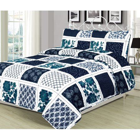 Navy Blue Coverlet by Quilt Patchwork Navy Blue White And Teal Bedspread