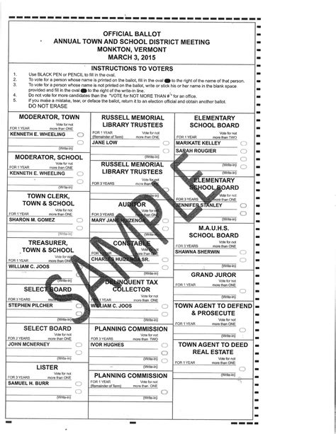 Sample Ballots For Town Meeting Day March 3, 2015