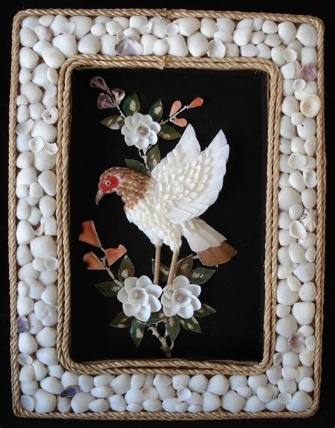 shadow box sea shell bird flowers picture frame seashell craft