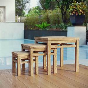Modterior, Outdoor, Coffee, Tables, Marina, Outdoor, Patio, Teak, Nesting, Table, In, Natural