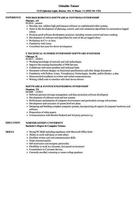 Computer Internship Resume by Software Internship Resume Sles Velvet