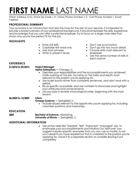 resume template free resume templates fast easy livecareer