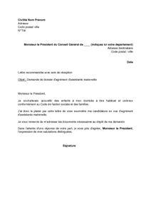 modèle lettre rupture contrat assistance maternelle pour scolarisation lettre de demande de dossier d agr 233 ment d assistante