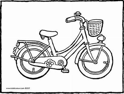 Colouring Fiets Bicyclette Kleurplaat Bicycle Kiddicolour Meisjesfiets