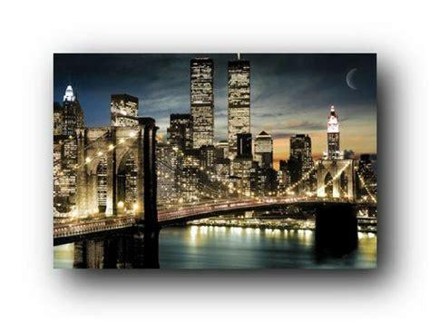 manhattan lights  york city skyline art poster print