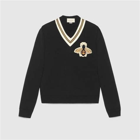 black wool sweater bee applique gucci