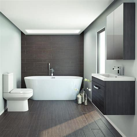 Small Modern Bathroom Ideas Uk by Black Free Standing Bath Suite In 2019 Small