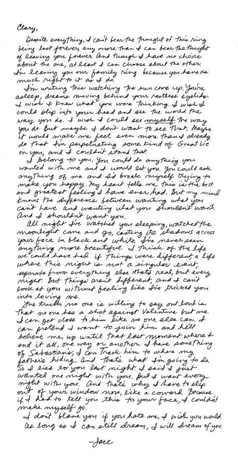 Jace's Letter - Cassandra Clare