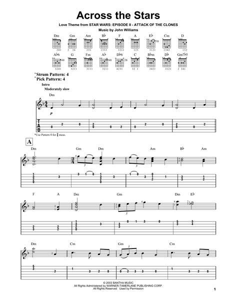 across the stars sheet music by john williams easy guitar