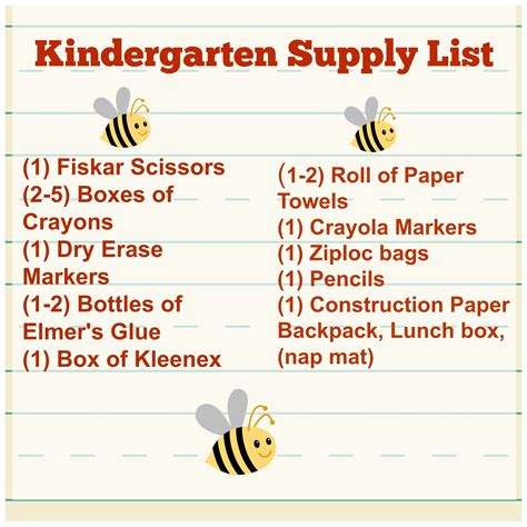 school supply list for preschool getting ready for kindergarten tips supply list tales 744