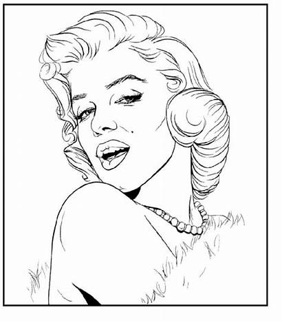 Coloring Monroe Marilyn Pages Portrait Adult Drawing