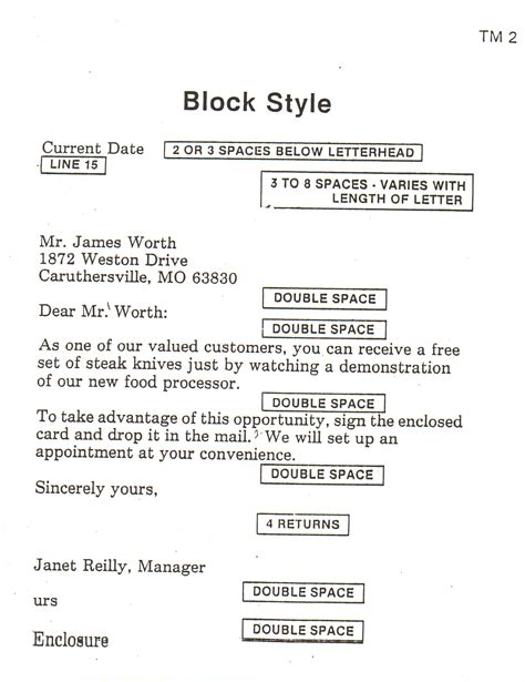 sample block style business letter format
