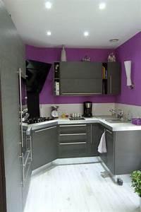Cuisine orange et grise 3 cuisine moderne violet et for Cuisine orange et grise