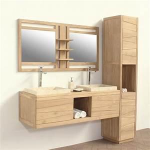 meuble salle de bain suspendu bois galerie avec meuble With meuble salle de bain suspendu en teck