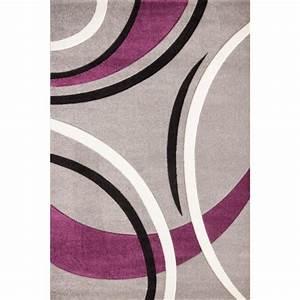 havanna tapis de salon 120x170 cm violet gris et noir With tapis violet et gris