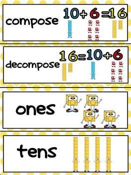 kindergarten common core math vocabulary word wall cards