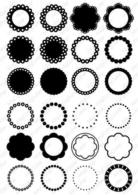 Circle Dot Scallop Monogram Frames SVG DXF PNG eps Cut Files