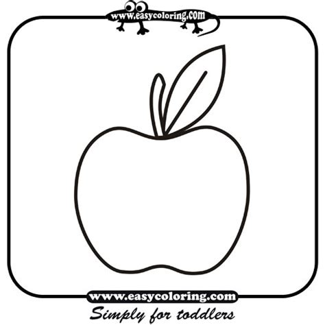 apple simple fruits easy coloring pages  toddlers