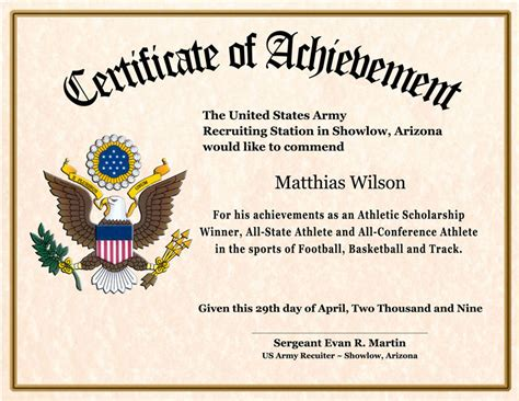 Certificate Of Achievement Wording