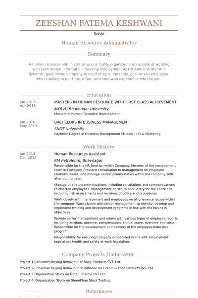 Human Resources Assistant Resume Samples  Visualcv Resume