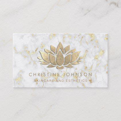 simulated gold foil lotus  marble business card zazzle