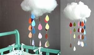 7 cute diy rain cloud mobiles diy With lustre chambre bebe nuage