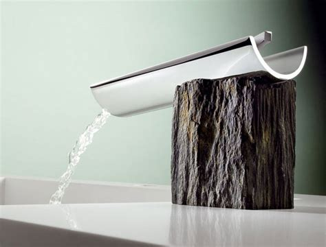 Creative Faucets And Sinks : Bath Faucets Combine Modern Design With Rustic Materials