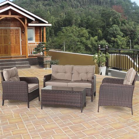 rattan loveseat cushions shop costway 4 pcs outdoor patio rattan wicker furniture