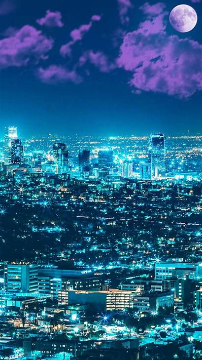4k Night Los Cityscape Angles Wallpapers Iphone