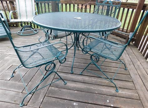 green wrought iron deck patio table and chairs twc