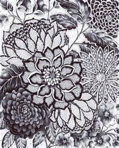 Black and White Ink Flower Drawing